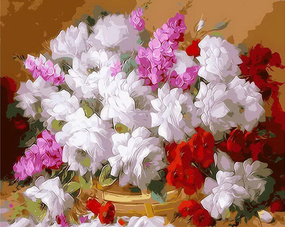 «Цветы в корзине» Хорхе МасьеляPaintboy (Premium)<br><br><br>Артикул: Gx8435<br>Основа: Холст<br>Сложность: сложные<br>Размер: 40x50 см<br>Количество цветов: 30<br>Техника рисования: Без смешивания красок