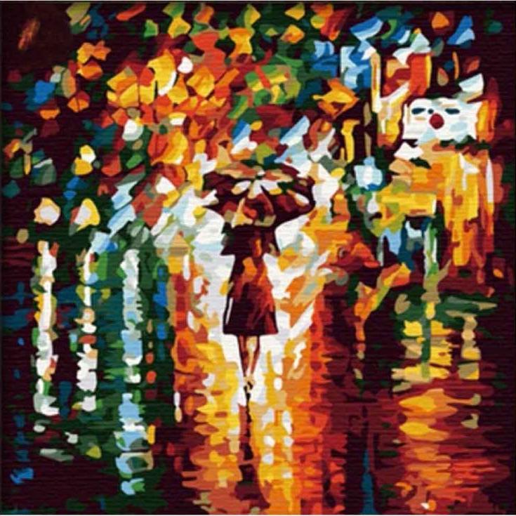 Картина по номерам «В дождь» Леонида АфремоваРаскраски по номерам Color Kit<br>Необычная, сочная, красивая раскраска по номерам «В дождь», созданная по картине Леонида Афремова, сразу привлекает внимание. Художник при помощи крупных мазков создает невероятную композицию, его осень часто дождлива, но это дождь, который дарит ощущение...<br><br>Артикул: MF014<br>Основа: Холст<br>Сложность: средние<br>Размер: 40x40 см<br>Количество цветов: 21<br>Техника рисования: Без смешивания красок