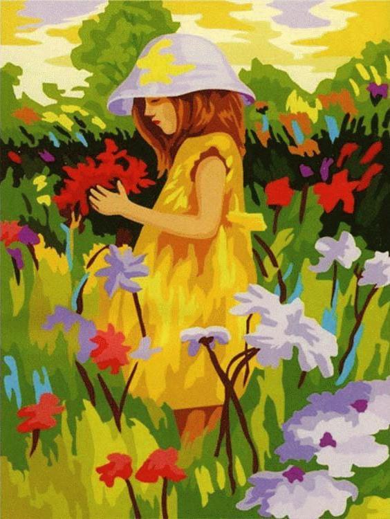 «Девочка в поле»Menglei (Premium)<br><br><br>Артикул: MG022<br>Основа: Холст<br>Сложность: сложные<br>Размер: 40x50 см<br>Количество цветов: 28<br>Техника рисования: Без смешивания красок