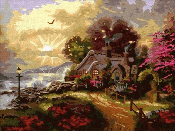 """«Рассвет нового дня» Томаса КинкейдаMenglei (Premium)<br>Каждый день яркие и теплые лучи ласкового Солнца прокладывают дорогу свету и радуют всех началом нового дня. Картина по номерам """"Рассвет нового дня"""" прекрасно подтверждает, что восход Солнца - великолепное зрелище, достойное ежедневного созерцания. И если...<br><br>Артикул: MG038<br>Основа: Холст<br>Сложность: сложные<br>Размер: 40x50<br>Количество цветов: 29<br>Техника рисования: Без смешивания красок"""