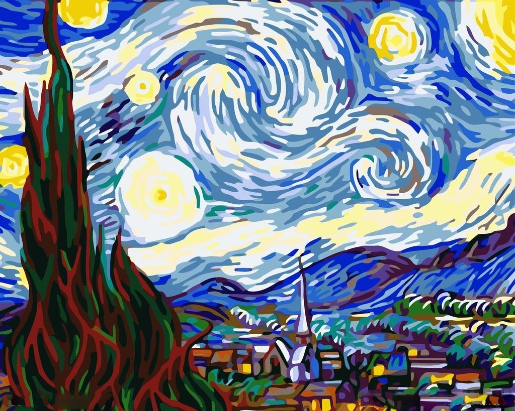 «Звездная ночь» Ван ГогаMenglei (Premium)<br>Можно ли купить картину Ван Гога «Звездная ночь»? Нет, ведь это бесценный шедевр, и он не продается. Но ехать в Нью-Йоркский музей современного искусства, где хранится оригинал, каждый раз, когда захочется посмотреть на великолепное полотно – очень затрат...<br><br>Артикул: MG124<br>Основа: Холст<br>Сложность: сложные<br>Размер: 40x50 см<br>Количество цветов: 24<br>Техника рисования: Без смешивания красок