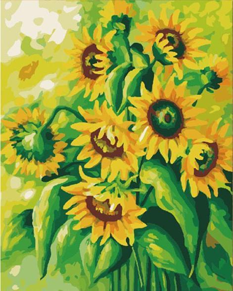 «Подсолнухи»Menglei (Premium)<br><br><br>Артикул: MG136<br>Основа: Холст<br>Сложность: сложные<br>Размер: 40x50 см<br>Количество цветов: 25<br>Техника рисования: Без смешивания красок