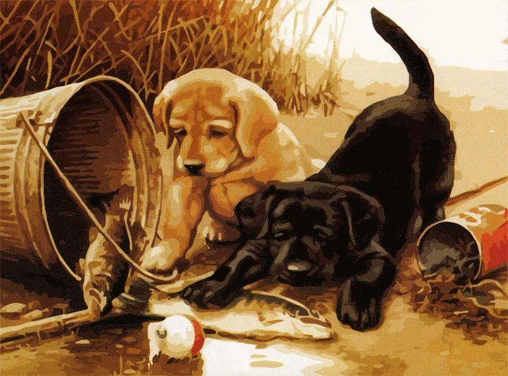«Щенки на рыбалке» Джима ЛэмбаMenglei (Premium)<br>Картина по номерам с изображением игривых и симпатичных щенков украсит детскую, гостиную, комнату в загородном доме или прихожую. Великолепная пара любопытных домашних питомцев послужит символом дружбы, верности и напомнит о том, что дети всегда остаются ...<br><br>Артикул: MG285<br>Основа: Холст<br>Сложность: сложные<br>Размер: 40x50 см<br>Количество цветов: 24<br>Техника рисования: Без смешивания красок