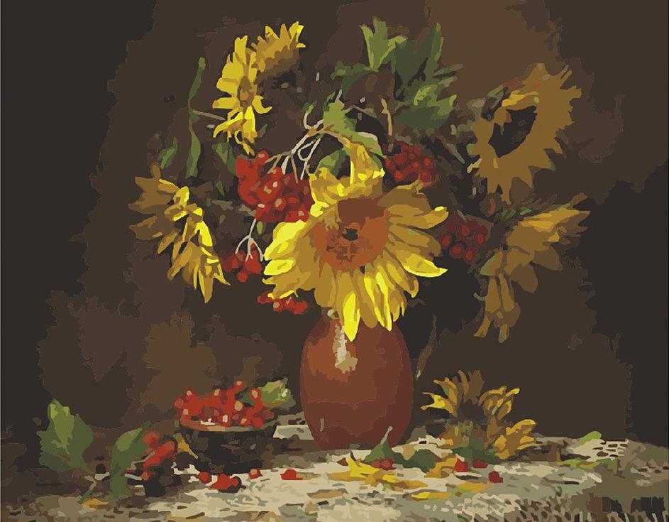 """«Букет «Осень» Марины ФилатовойMenglei (Premium)<br>Красивая картина по номерам """"Букет """"Осень"""" одаривает зрителей щедростью Солнца, которое своим теплом все лето согревало растения и деревья, позволив цветам распуститься, а плодам созреть. Спокойные краски натюрморта будут акцентировать на себе внимание, э...<br><br>Артикул: MG296<br>Основа: Холст<br>Сложность: сложные<br>Размер: 40x50 см<br>Количество цветов: 29<br>Техника рисования: Без смешивания красок"""