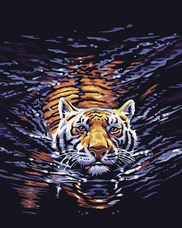 Картина по номерам «В воде»Menglei (Premium)<br>Картина по номерам «В воде» отлично подойдет для украшения кабинета начальника ли гостиной дома. Благодаря главному герою сюжета – тигру, полотно приобретает философский смысл. Это животное, согласно фэн-шуй, является символом главы дома, нейтрализует нег...<br><br>Артикул: MG308<br>Основа: Холст<br>Сложность: средние<br>Размер: 40x50 см<br>Количество цветов: 17<br>Техника рисования: Без смешивания красок