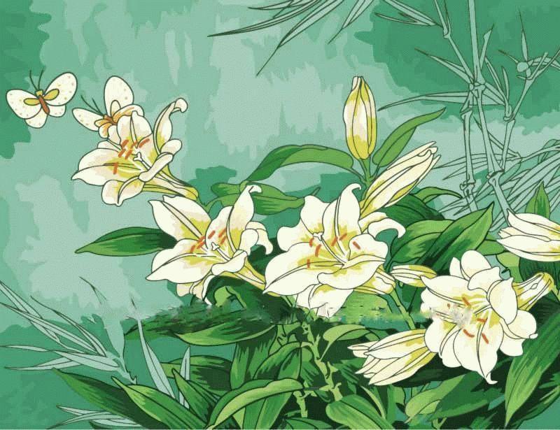 «Лилии»Menglei (Premium)<br><br><br>Артикул: MMC037<br>Основа: Холст<br>Сложность: средние<br>Размер: 50x65 см<br>Количество цветов: 20<br>Техника рисования: Без смешивания красок