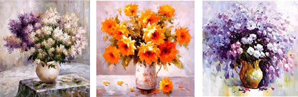 Букет «Времена года»Menglei (Premium)<br><br><br>Артикул: MT3070<br>Основа: Холст<br>Сложность: очень сложные<br>Размер: 3 шт. 50x50 см<br>Количество цветов: 37<br>Техника рисования: Без смешивания красок