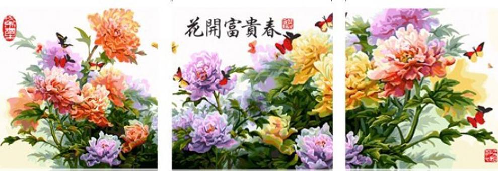 Воздушный букет (пионы)Menglei (Premium)<br>Пион - король цветов, его красота и аромат ценились всегда. Кстати, сначала пион разводили только как лекарственное растение, но благодаря своей изысканности, он стал одним из символов Китая, затем с успехом покорил Японию и чуть позже завоевал сердца цве...<br><br>Артикул: MT3014<br>Основа: Холст<br>Сложность: очень сложные<br>Размер: 3 шт. 50x50 см<br>Количество цветов: 37<br>Техника рисования: Без смешивания красок