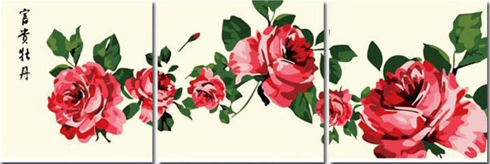 «Красные розы»Menglei (Premium)<br><br><br>Артикул: MT3006<br>Основа: Холст<br>Сложность: сложные<br>Размер: 3 шт. 50x50 см<br>Количество цветов: 11<br>Техника рисования: Без смешивания красок