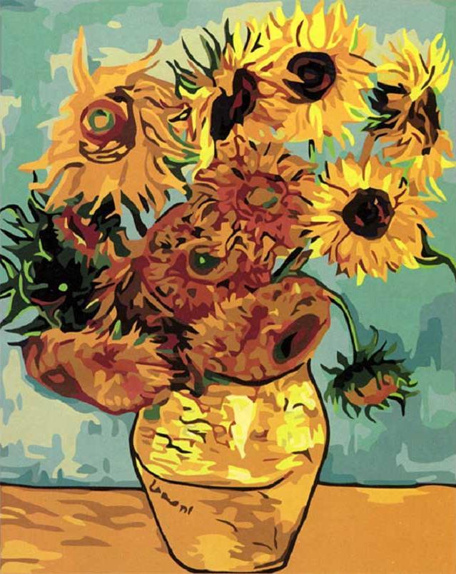«Ваза с двенадцатью подсолнухами» Ван ГогаMenglei (Premium)<br>Сюжетный замысел знаменитой картины Ван Гога прост и ясен – это яркие желтые цветы в обычной керамической вазе. Глядя на это полотно, создается впечатление, что ваза мала для таких тяжелых, наполненных энергией Солнца, подсолнухов, но тем не менее, она вм...<br><br>Артикул: mg098<br>Основа: Холст<br>Сложность: сложные<br>Размер: 40x50 см<br>Количество цветов: 24<br>Техника рисования: Без смешивания красок