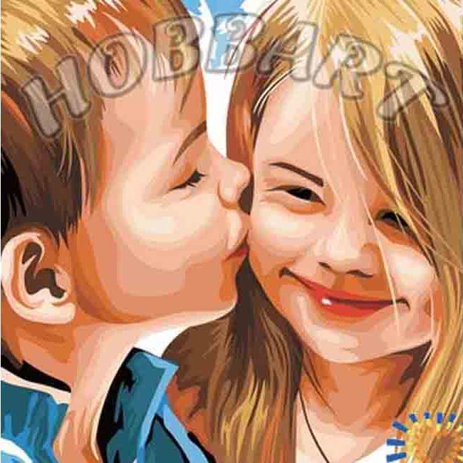 Картина по номерам «Детский поцелуй»Hobbart<br><br><br>Артикул: DZ4040001<br>Основа: Холст<br>Сложность: средние<br>Размер: 40x40 см<br>Количество цветов: 25<br>Техника рисования: Без смешивания красок