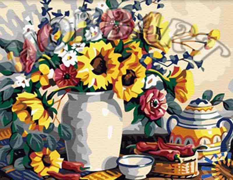 Солнечно-летний букетHobbart<br><br><br>Артикул: HB3040148<br>Основа: Холст<br>Сложность: средние<br>Размер: 30x40<br>Количество цветов: 25<br>Техника рисования: Без смешивания красок