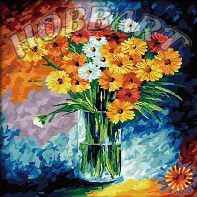 Картина по номерам «Ромашковый коллаж» Леонида АфремоваHobbart<br><br><br>Артикул: HB4040034<br>Основа: Холст<br>Сложность: средние<br>Размер: 40x40 см<br>Количество цветов: 30<br>Техника рисования: Без смешивания красок