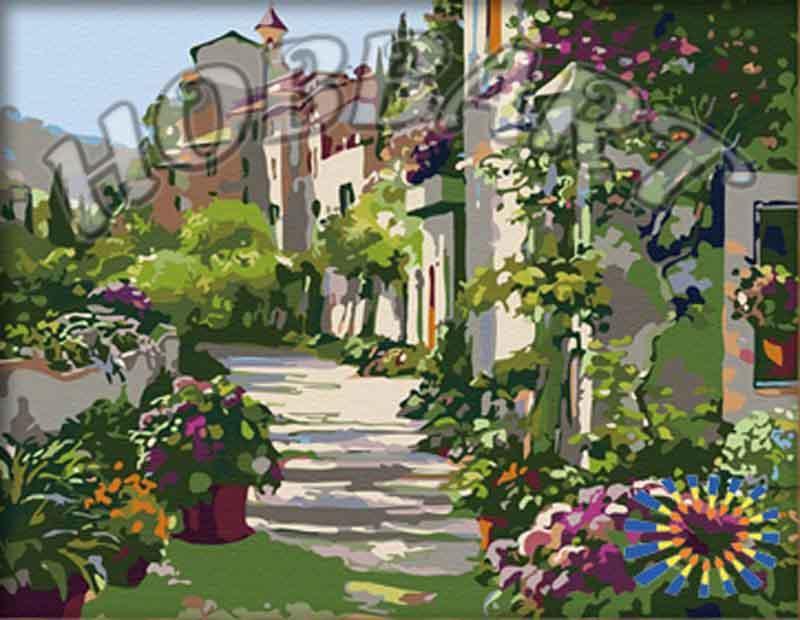 Картина по номерам «Цветочная улочка»Hobbart<br><br><br>Артикул: HB4050038<br>Основа: Холст<br>Сложность: сложные<br>Размер: 40x50 см<br>Количество цветов: 28<br>Техника рисования: Без смешивания красок