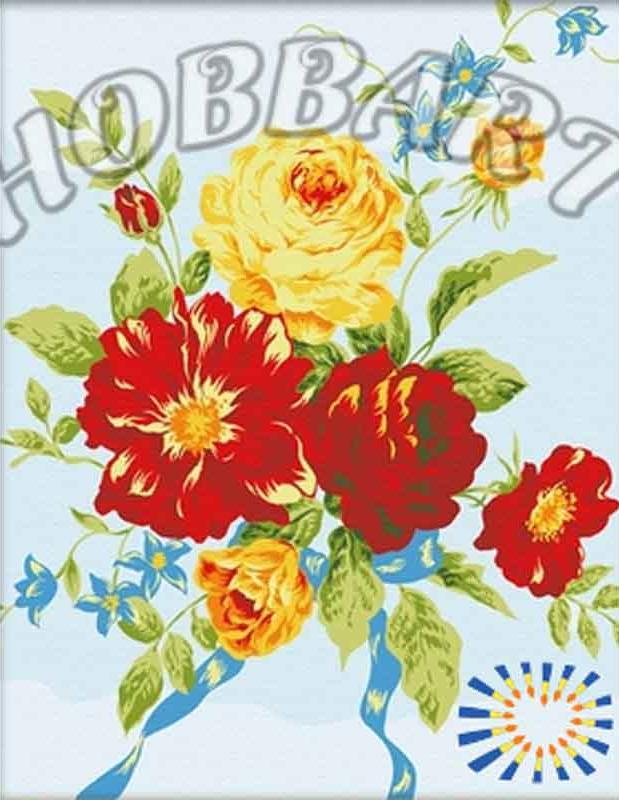 Букет с голубой лентойHobbart<br><br><br>Артикул: HB4050072<br>Основа: Холст<br>Сложность: сложные<br>Размер: 40x50<br>Количество цветов: 11<br>Техника рисования: Без смешивания красок