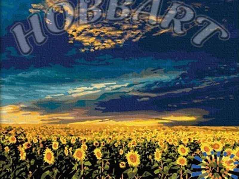 Поле подсолнухов в закатном золотеHobbart<br><br><br>Артикул: HB4050098<br>Основа: Холст<br>Сложность: средние<br>Размер: 40x50<br>Количество цветов: 25<br>Техника рисования: Без смешивания красок