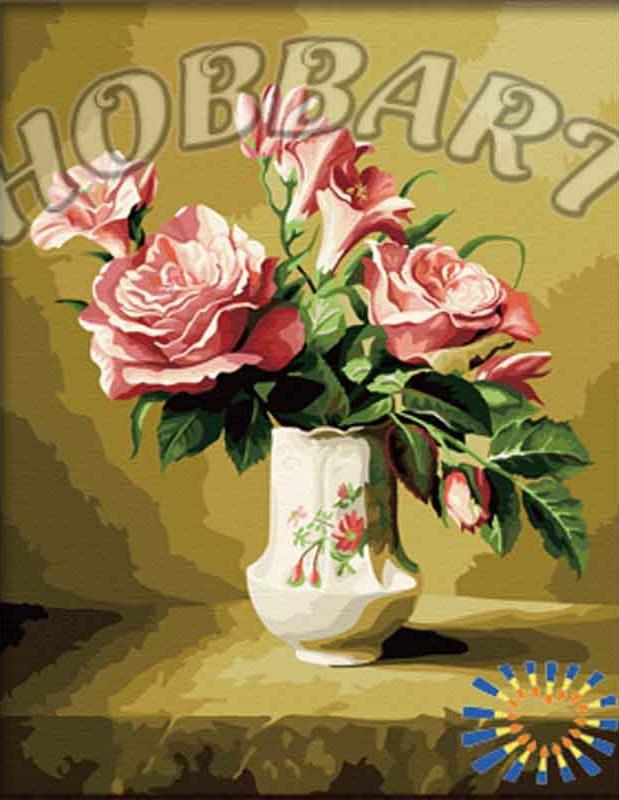 НежныйHobbart<br>Название раскраски как нельзя лучше отражает ее содержание - это красивая цветочная композиция, составленная из распустивших роз и нежных бутонов. Теплые тона картины и нейтральный сюжет делают это полотно универсальным, цветы будут радовать владельцев и ...<br><br>Артикул: HB4050106<br>Основа: Холст<br>Сложность: средние<br>Размер: 40x50 см<br>Количество цветов: 28<br>Техника рисования: Без смешивания красок