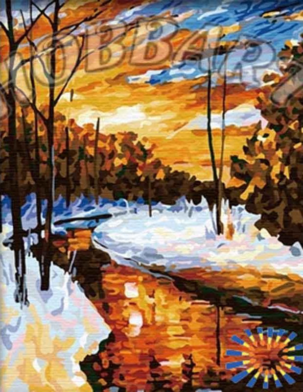 «Зимний ручей»Hobbart<br><br><br>Артикул: HB4050115<br>Основа: Холст<br>Сложность: средние<br>Размер: 40x50 см<br>Количество цветов: 30<br>Техника рисования: Без смешивания красок