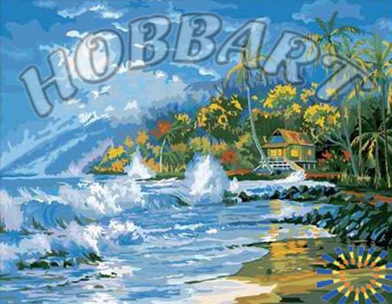«На берегу»Hobbart<br><br><br>Артикул: HB4050158<br>Основа: Холст<br>Сложность: средние<br>Размер: 40x50 см<br>Количество цветов: 30<br>Техника рисования: Без смешивания красок