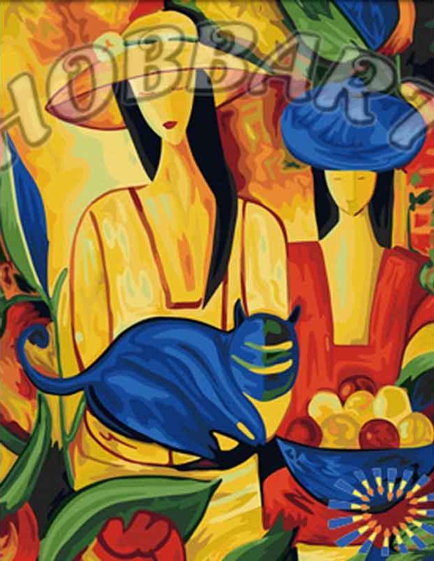 Картина по номерам «Женщины и кот»Hobbart<br><br><br>Артикул: HB4050171<br>Основа: Холст<br>Сложность: средние<br>Размер: 40x50 см<br>Количество цветов: 28<br>Техника рисования: Без смешивания красок