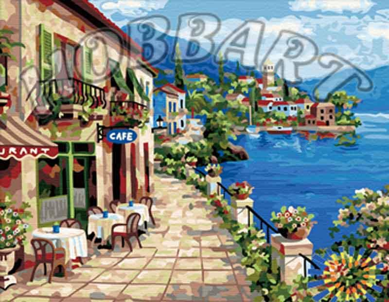 Картина по номерам «В кафе на побережье» Сен КимаHobbart<br><br><br>Артикул: HB4050175<br>Основа: Холст<br>Сложность: средние<br>Размер: 40x50 см<br>Количество цветов: 30<br>Техника рисования: Без смешивания красок