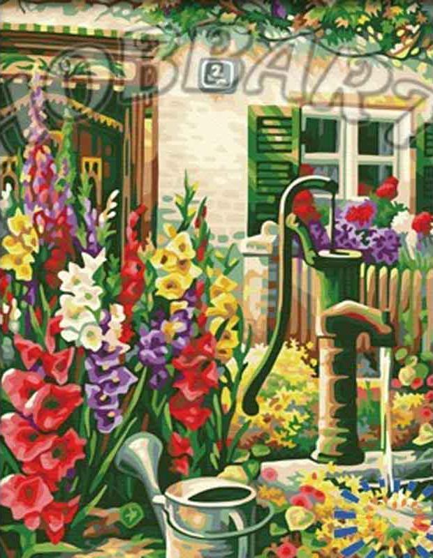 «Цветочный водопой»Hobbart<br><br><br>Артикул: HB4050292<br>Основа: Холст<br>Сложность: средние<br>Размер: 40x50 см<br>Количество цветов: 25<br>Техника рисования: Без смешивания красок