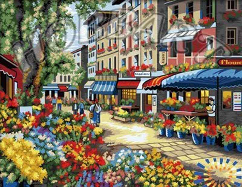 Картина по номерам «Цветочный рынок»Hobbart<br><br><br>Артикул: HB4050299<br>Основа: Холст<br>Сложность: очень сложные<br>Размер: 40x50 см<br>Количество цветов: 24<br>Техника рисования: Без смешивания красок