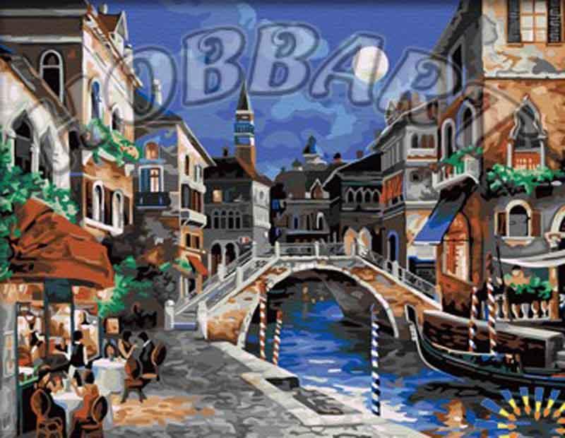 Картина по номерам «Ночная Венеция» Джеймса ЛиHobbart<br><br><br>Артикул: HB4050304<br>Основа: Холст<br>Сложность: средние<br>Размер: 40x50 см<br>Количество цветов: 24<br>Техника рисования: Без смешивания красок