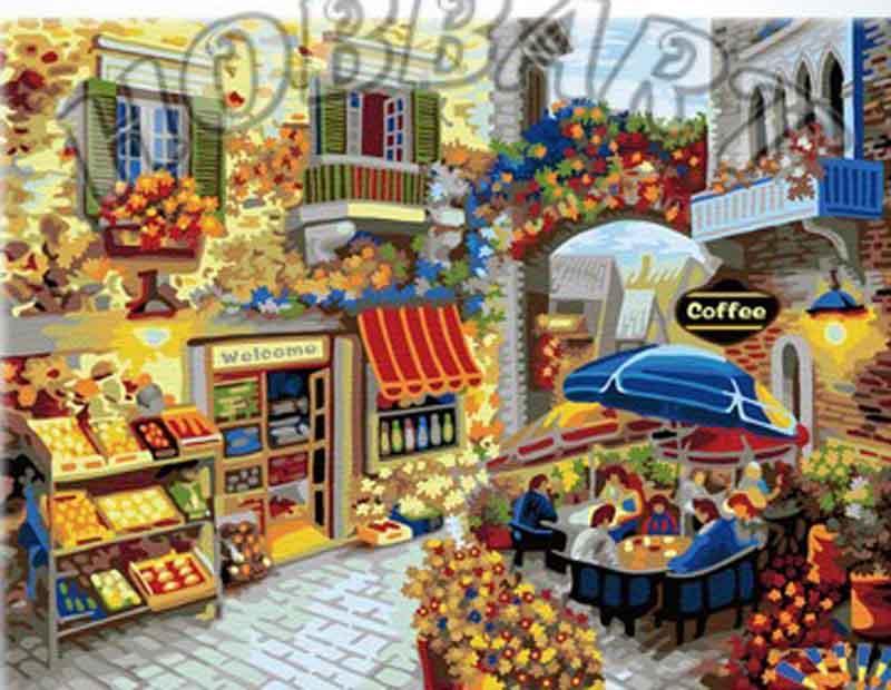 «Кафе у цветочной арки» Ники БоэмHobbart<br><br><br>Артикул: HB4050307<br>Основа: Холст<br>Сложность: очень сложные<br>Размер: 40x50 см<br>Количество цветов: 24<br>Техника рисования: Без смешивания красок
