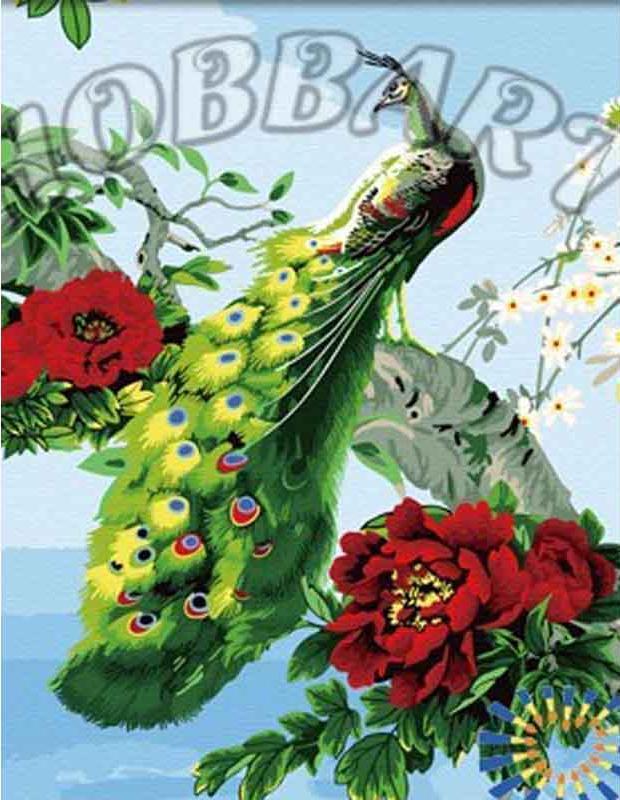 Королевский павлинHobbart<br><br><br>Артикул: HB4050308<br>Основа: Холст<br>Сложность: средние<br>Размер: 40x50 см<br>Количество цветов: 25<br>Техника рисования: Без смешивания красок