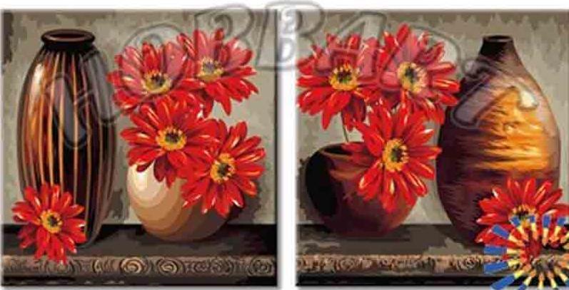 «Вазы и герберы»Hobbart<br><br><br>Артикул: PH24080028<br>Основа: Холст<br>Сложность: сложные<br>Размер: 2 шт. 40x40 см<br>Количество цветов: 39<br>Техника рисования: Без смешивания красок