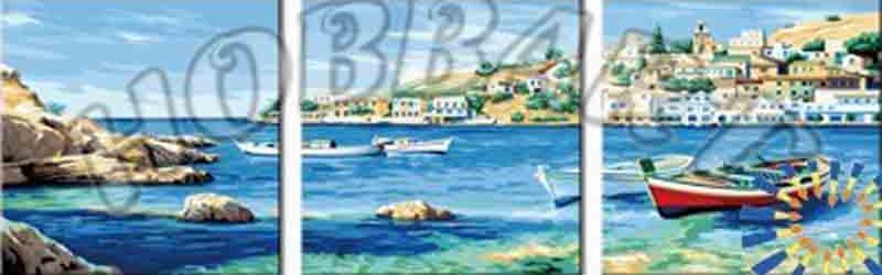 Картина по номерам «Бухта радости»Hobbart<br><br><br>Артикул: PH340120080-Lite<br>Основа: Цветной холст<br>Сложность: сложные<br>Размер: 3 шт. 40x40 см<br>Количество цветов: 39<br>Техника рисования: Без смешивания красок