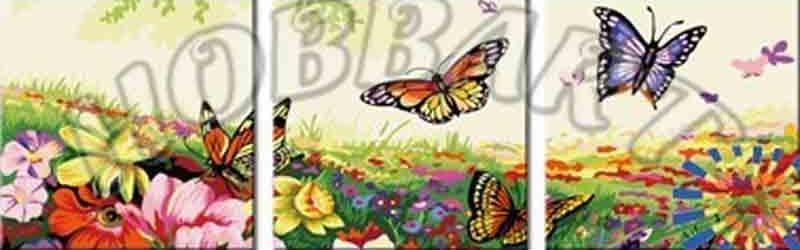 «Порхающие цветы»Hobbart<br><br><br>Артикул: PH340120081<br>Основа: Холст<br>Сложность: средние<br>Размер: 3 шт. 40x40 см<br>Количество цветов: 22<br>Техника рисования: Без смешивания красок