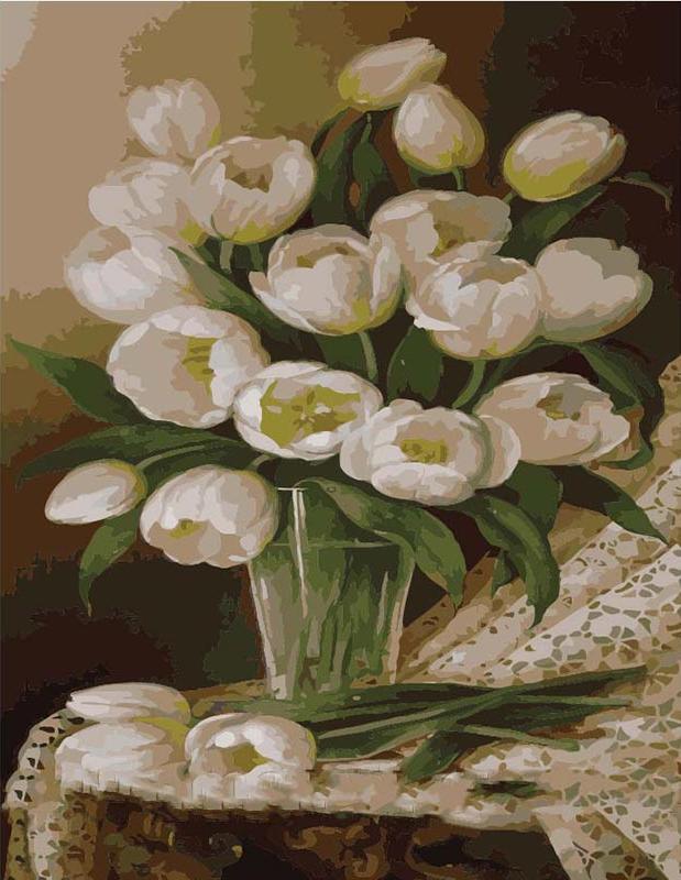 Картина по номерам «Букет белых тюльпанов»Menglei (Premium)<br><br><br>Артикул: MG1063<br>Основа: Холст<br>Сложность: сложные<br>Размер: 40x50 см<br>Количество цветов: 25<br>Техника рисования: Без смешивания красок