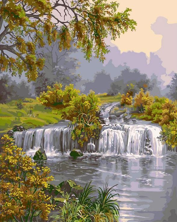 «Речка с водопадом» Виктора ЦыгановаPaintboy (Premium)<br><br><br>Артикул: GX8434<br>Основа: Холст<br>Сложность: средние<br>Размер: 40x50 см<br>Количество цветов: 26<br>Техника рисования: Без смешивания красок