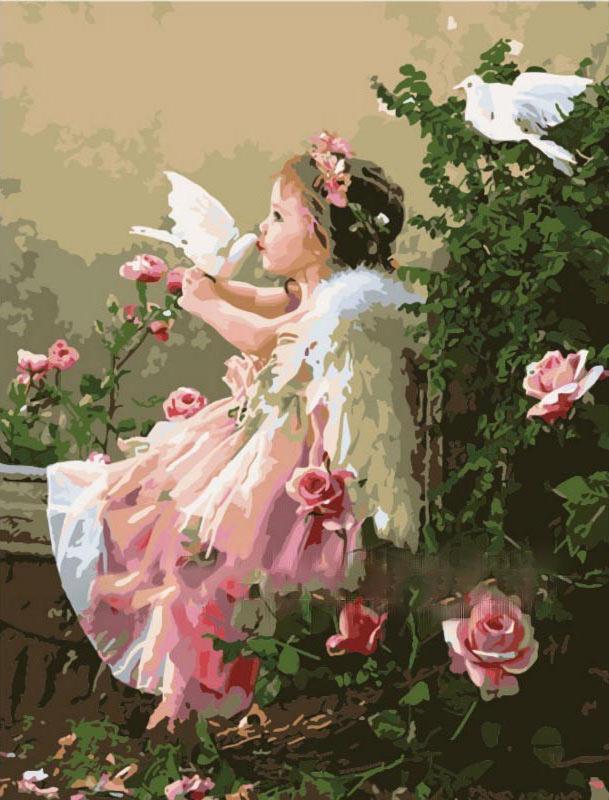 Купить Картина по номерам «Поцелуй ангела» Лизы Джейн, Paintboy (Premium), Китай