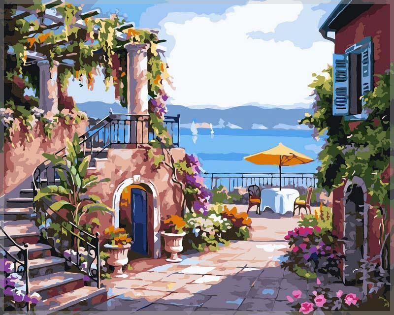 Картина по номерам «Итальянский дворик» Сен КимаPaintboy (Premium)<br><br><br>Артикул: GX7174<br>Основа: Холст<br>Сложность: средние<br>Размер: 40x50 см<br>Количество цветов: 25<br>Техника рисования: Без смешивания красок