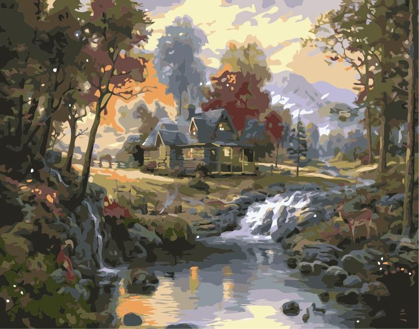 «Дом с водопадом»Paintboy (Premium)<br><br><br>Артикул: GX7201<br>Основа: Холст<br>Сложность: средние<br>Размер: 40x50 см<br>Количество цветов: 25<br>Техника рисовани: Без смешивани красок