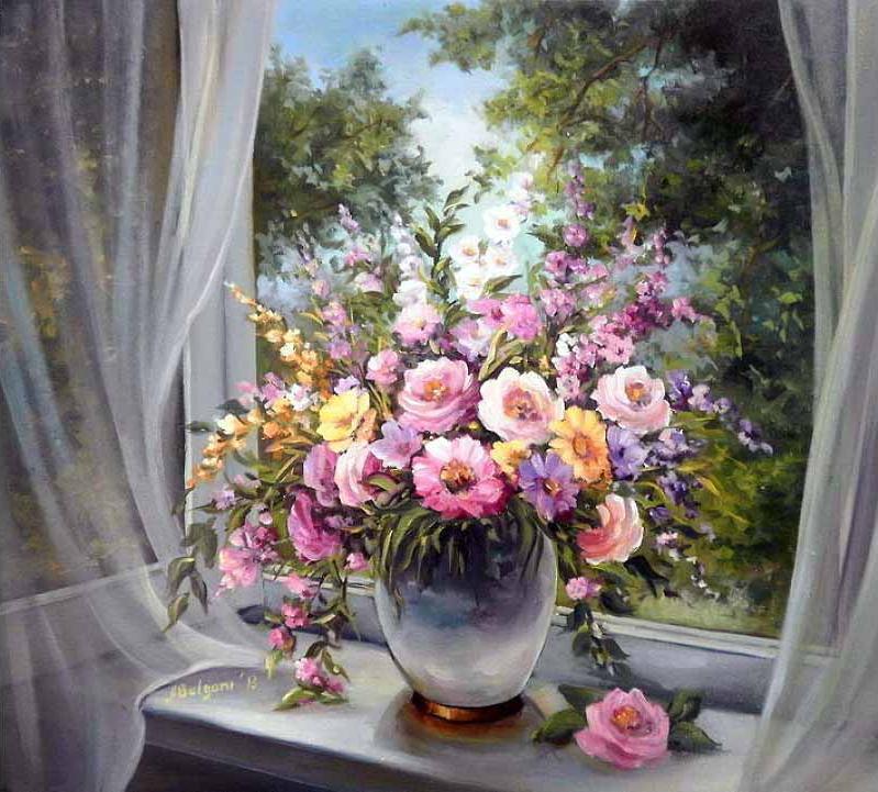 «Букет на окне» Анки БулгаруPaintboy (Premium)<br><br><br>Артикул: GX7343<br>Основа: Холст<br>Сложность: средние<br>Размер: 40x50 см<br>Количество цветов: 24<br>Техника рисования: Без смешивания красок