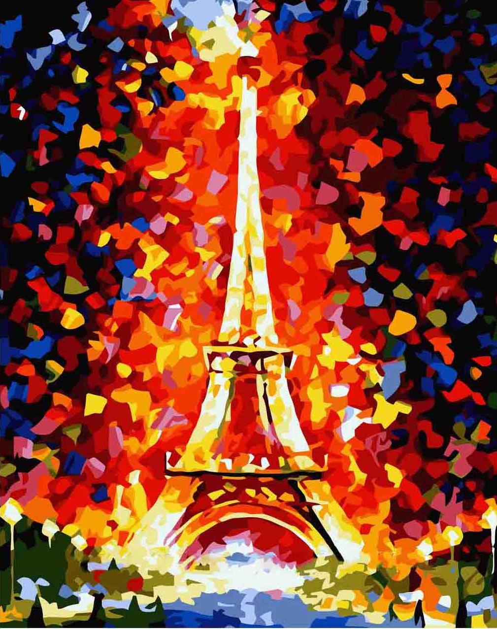 """«Эйфелева башня» Леонида АфремоваMenglei (Premium)<br>Хотите в Париж? Впервые или в десятый, сотый раз, ведь город, который ассоциируется только с прекрасными и светлыми чувствами и эмоциями, не может наскучить, как и картина по номерам """"Эйфелева башня"""". Красивая раскраска на холсте поможет совершить виртуал...<br><br>Артикул: MG076<br>Основа: Холст<br>Сложность: средние<br>Размер: 40x50 см<br>Количество цветов: 21<br>Техника рисования: Без смешивания красок"""
