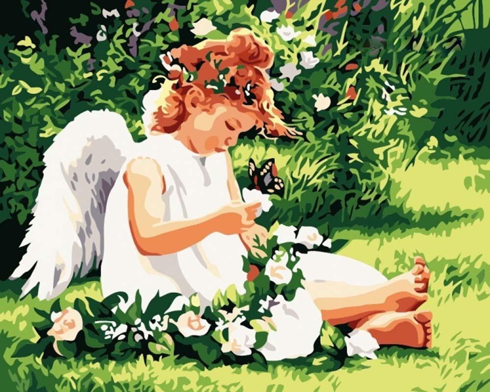 «Ангел на лугу»Menglei (Premium)<br>Ангел на лугу<br><br>Артикул: MG310<br>Основа: Холст<br>Сложность: средние<br>Размер: 40x50 см<br>Количество цветов: 18<br>Техника рисования: Без смешивания красок