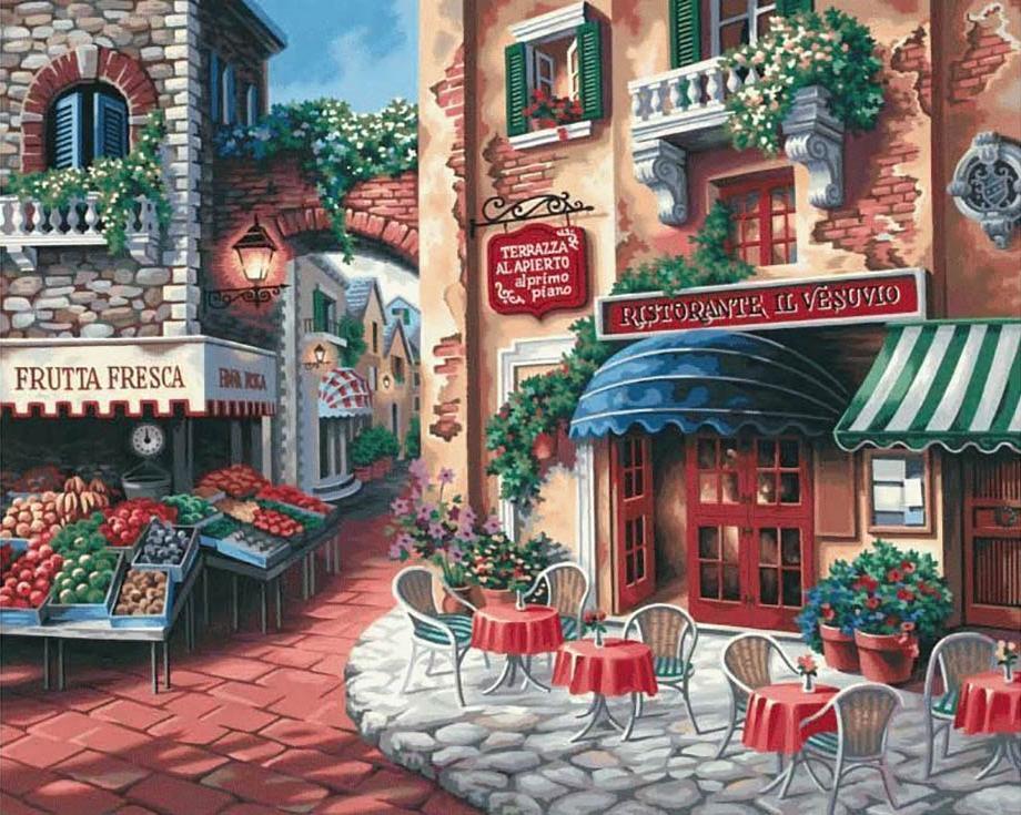 Картина по номерам «Вкус Италии» Ники БоэмЦветной (Premium)<br>Вкус Италии<br><br>Артикул: MG078_Z<br>Основа: Холст<br>Сложность: средние<br>Размер: 40x50 см<br>Количество цветов: 25<br>Техника рисования: Без смешивания красок