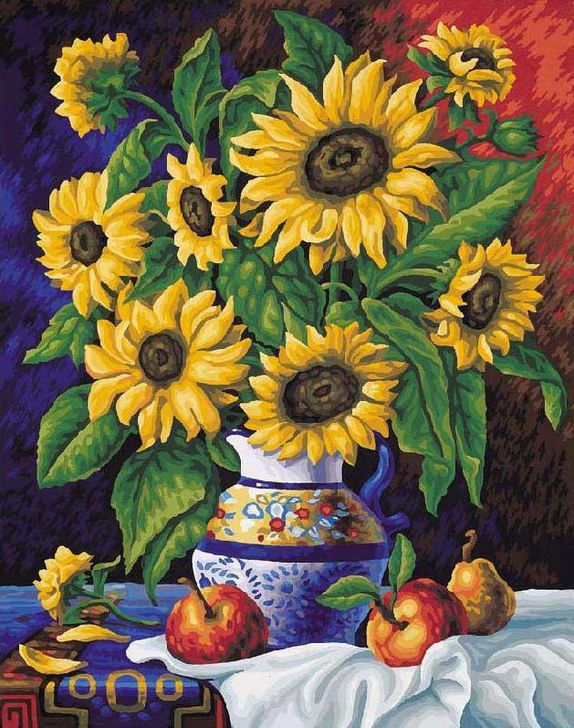 Картина по номерам «Ваза с подсолнухами»Menglei (Premium)<br>Яркий желтый цвет лепестков подсолнухов, свежая зелень листочков, насыщенный фон, красивая ваза - в этой картине по номерам соединены интенсивность цвета и простота композиции и сюжета. Однако именно в этом и состоит прелесть этого полотна. Неперегруженно...<br><br>Артикул: MG088<br>Основа: Холст<br>Сложность: сложные<br>Размер: 40x50 см<br>Количество цветов: 24<br>Техника рисования: Без смешивания красок