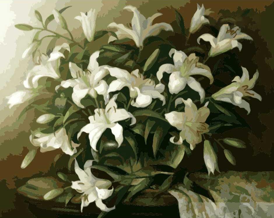 Картина по номерам «Белые лилии»Menglei (Premium)<br><br><br>Артикул: MG1065<br>Основа: Холст<br>Сложность: сложные<br>Размер: 40x50 см<br>Количество цветов: 25<br>Техника рисования: Без смешивания красок