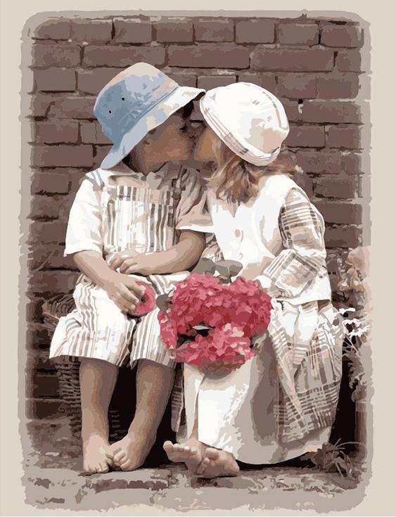 Фото «Детская любовь» Кима АндресонаMenglei (Premium)<br><br><br>Артикул: MMC002<br>Основа: Холст<br>Сложность: сложные<br>Размер: 50x65 см<br>Количество цветов: 30<br>Техника рисования: Без смешивания красок