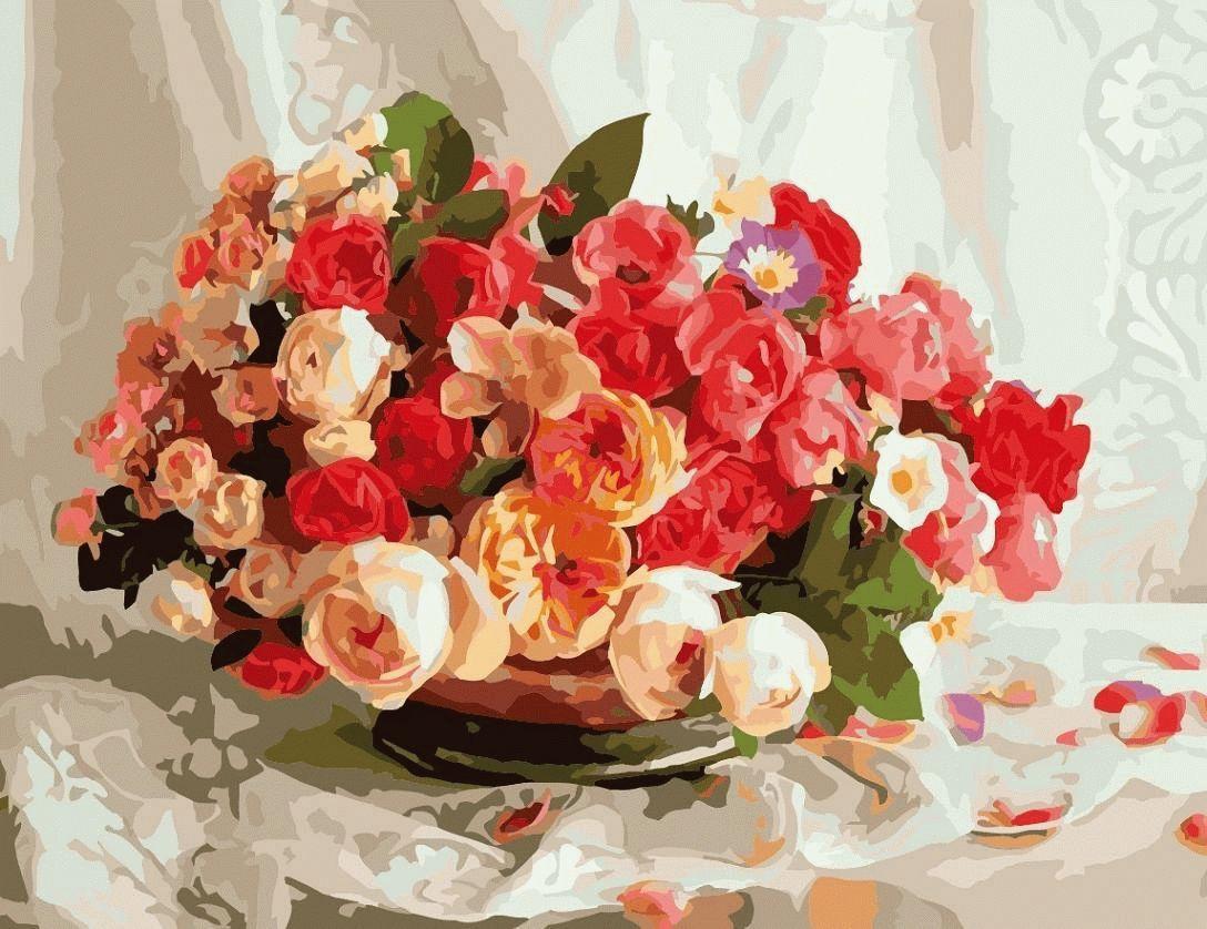 «Композиция из роз»Menglei (Premium)<br>Роза - уникальный цветок, которому посвящены стихотворения и песни, в ее честь устраивают фестивали и праздники, она является символом любви во всем мире. Например, индийская легенда утверждает, что этот цветок был колыбелью для самой красивой женщины в м...<br><br>Артикул: MMC071<br>Основа: Холст<br>Сложность: сложные<br>Размер: 50x65<br>Количество цветов: 30<br>Техника рисования: Без смешивания красок