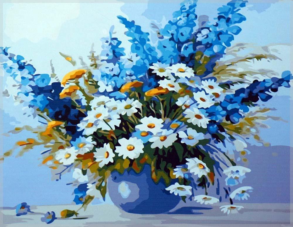 Картина по номерам «Дельфиниум и ромашки» Татьяны ГорбатенькойРаскраски по номерам<br><br>