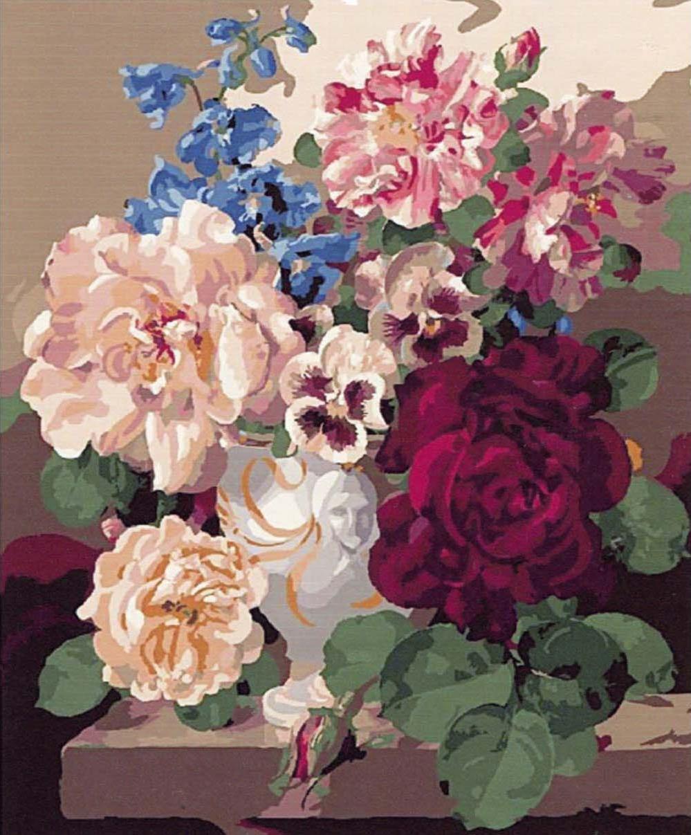 Картина по номерам «Розы и анютины глазки» Гарольда КлейтонаPaintboy (Premium)<br><br><br>Артикул: GX7055<br>Основа: Холст<br>Сложность: средние<br>Размер: 40x50 см<br>Количество цветов: 25<br>Техника рисования: Без смешивания красок