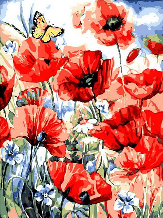 «Бабочка и маки»Paintboy (Premium)<br><br><br>Артикул: gx7073<br>Основа: Холст<br>Сложность: сложные<br>Размер: 40x50 см<br>Количество цветов: 29<br>Техника рисования: Без смешивания красок