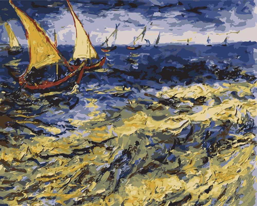 «Вид на море в Сент-Мари» Ван ГогаРаскраски по номерам Menglei (Standart)<br><br><br>Артикул: MG2015_S<br>Основа: Холст<br>Сложность: средние<br>Размер: 40x50 см<br>Количество цветов: 25<br>Техника рисования: Без смешивания красок